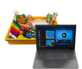 ноутбук с музыкальными инструментами