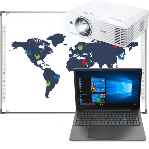 интерактивная доска, проектор и ноутбук